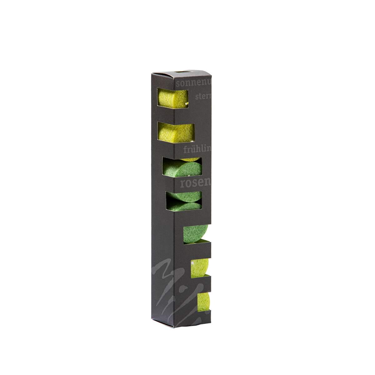 Geschenkbox-Blockkerzen-lindengr-n-tannengr-n-hellgr-n