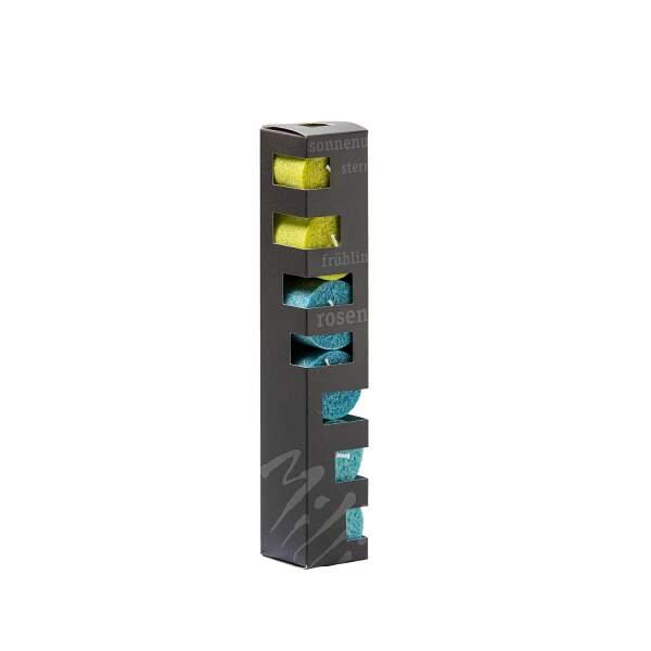 Geschenkbox-Blockkerzen-t-rkis-petrol-hellgr-n